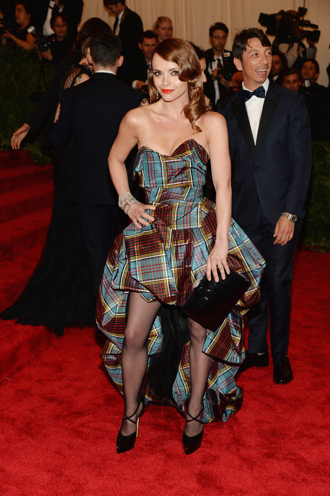 Christina Ricci was the ultimate punk princess in a strapless bustier-style plaid high-low gown and Harry Winston jewels.