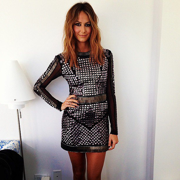 Stacy Keibler looked nothing shy of sexy in her studded Rachel Roy mini dress. Source: Instagram user rachel_roy