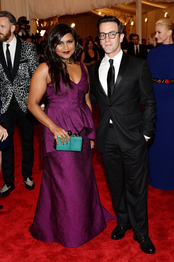 Forget punky black — Mindy Kaling went with a jewel-toned Lela Rose gown, a turquoise clutch, and nerdy-cute date B.J. Novak.