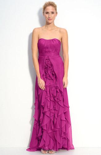 Dalia MacPhee Strapless Ruffle Chiffon Gown