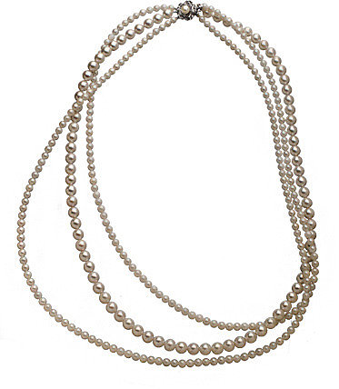 Masato Pearls Silver Floral Pearl Bud Clasp Necklace