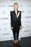 Carey Mulligan hit the red carpet in a Lanvin tuxedo-style jacket and trousers, which she finished with ankle-strap heels.