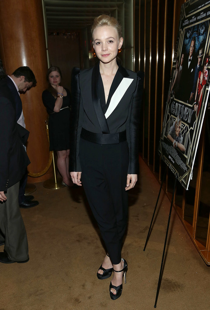 Carey Mulligan donned the chicest iteration of the tuxedo in a black and white Lanvin getup at the pre-Met Gala screening of The Great Gatsby in NYC.