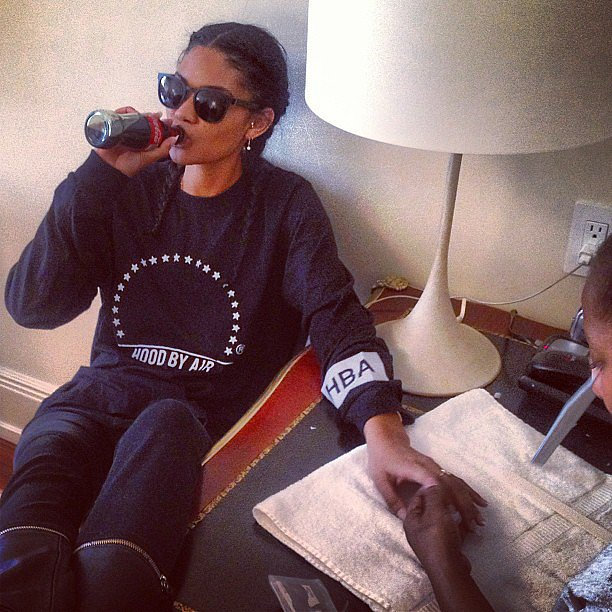 Chanel Iman prepped for the big event with a manicure and an old-school Coke. Source: Instagram user chaneliman