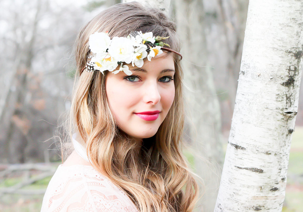 Top off flowing waves with a white floral headband ($35).