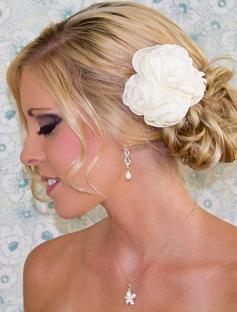 A bridal hair flower ($16) is a classic choice.