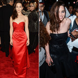 Game of Thrones' Emilia Clarke went slightly punk in a red strapless Ralph Lauren gown and a single Fred Leighton cross earring on the red carpet. But as you can see, the actress went with something darker and without a sweetheart neckline after the main event.