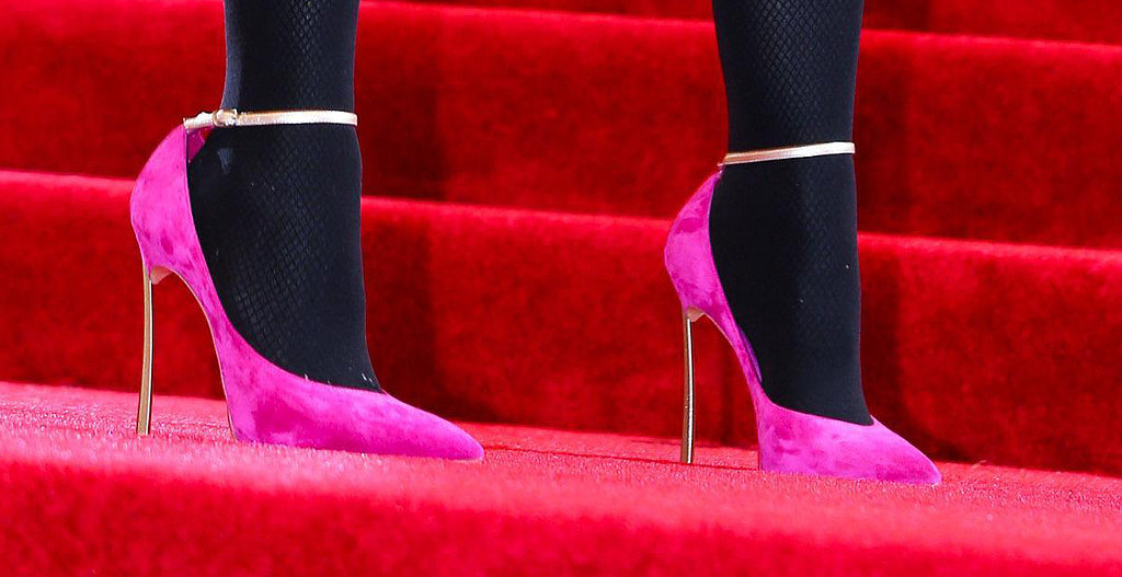 Madonna wore pink and gold stilettos by Casadei. Photo: Julian Mackler BFAnyc.com