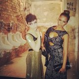 Ginnifer Goodwin and Jessica Alba posed in front of a re-creation of CBGB's bathroom.  Source: Instagram user jessicaalba