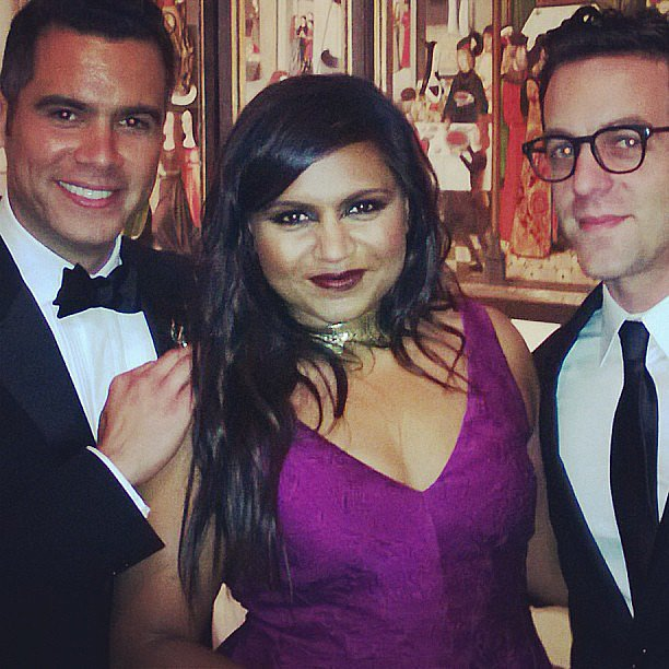 Cash Warren hung out with Mindy Kaling and BJ Novak inside the ball. Source: Instagram user jessicaalba