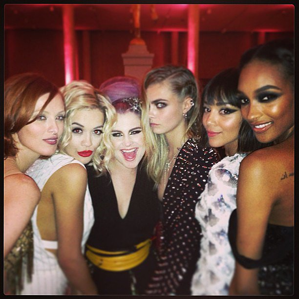 Kelly Osbourne held court with Rita Ora, Cara Delevingne, Karen Elson, Ashley Madekwe and Jourdan Dunn. Source: Instagram user kellyosbourne