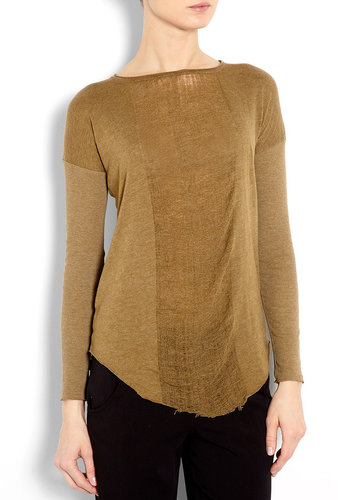 Raquel Allegra Basic Long Sleeve Deconstructed Jersey Top