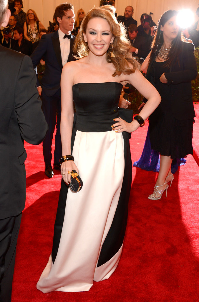 Kylie Minogue  an honourary Brit wore a black and white Moschino gown.