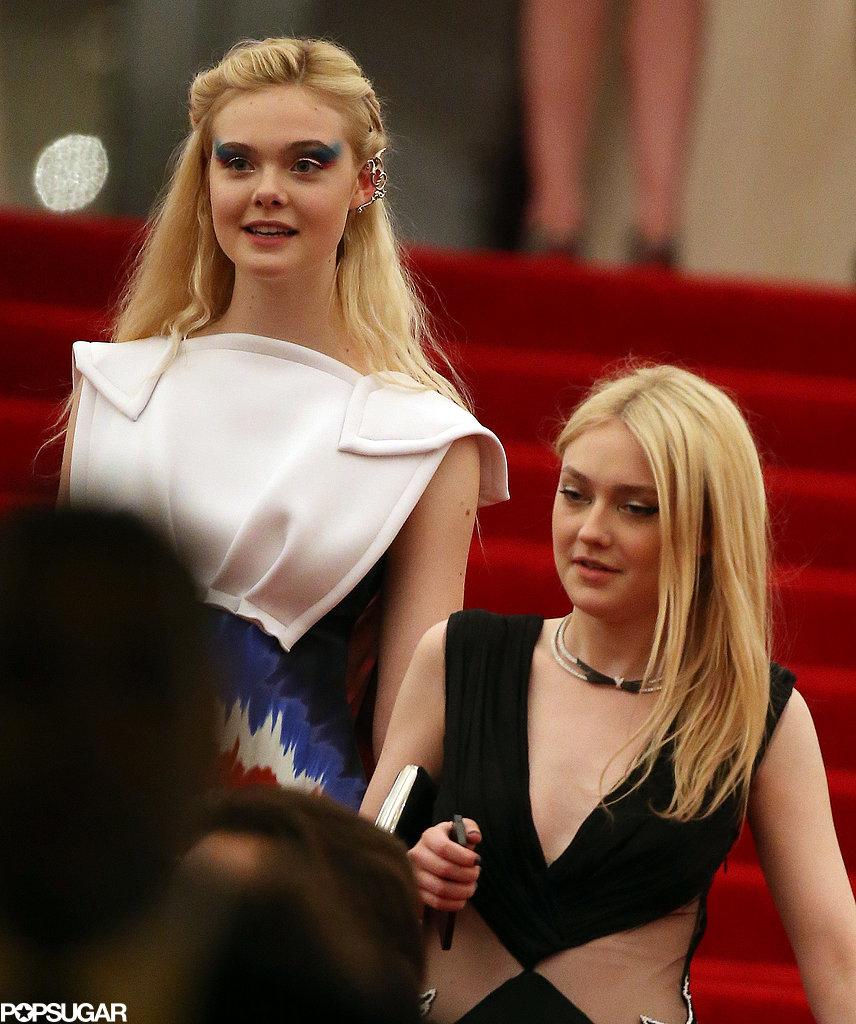 Elle Fanning and Dakota Fanning left the Met Gala together.