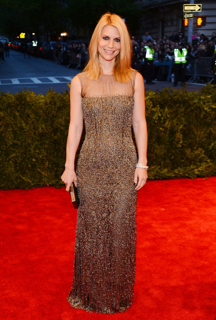 Claire Danes was high wattage in a black tulle Oscar de la Renta gown covered with chain-mail embroidery.