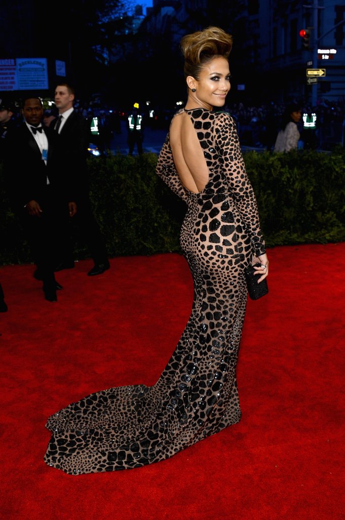 Jennifer Lopez flaunted her famous figure in a custom black leopard sequin-embroidered gown by Michael Kors.