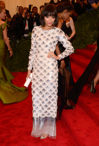 Ashley Madekwe skipped the punk theme, evoking a somewhat '20s flapper vibe instead in her floor-length Topshop gown. To polish off a very pretty look, she wore Jacob & Co. jewels.
