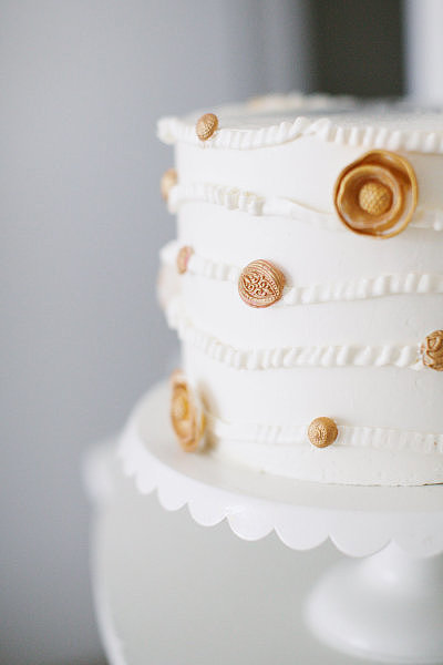 Just a hint of texture and edible embellishment make this one whimsical dessert.  Photo by Alea Lovely via Style Me Pretty