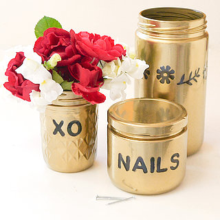 Gold Spray-Painted Glass Jars