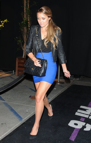 Lauren juxtaposed her curve-hugging cobalt bandage skirt with a rough leather jacket while heading to Lo Bosworth's 23rd birthday party in LA. Lesson from Lauren: don't be afraid to mix trends.