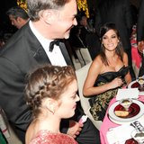 Ashley Greene smiled between bites at the Met Gala dinner. Source: Billy Farrell/BFANYC.com