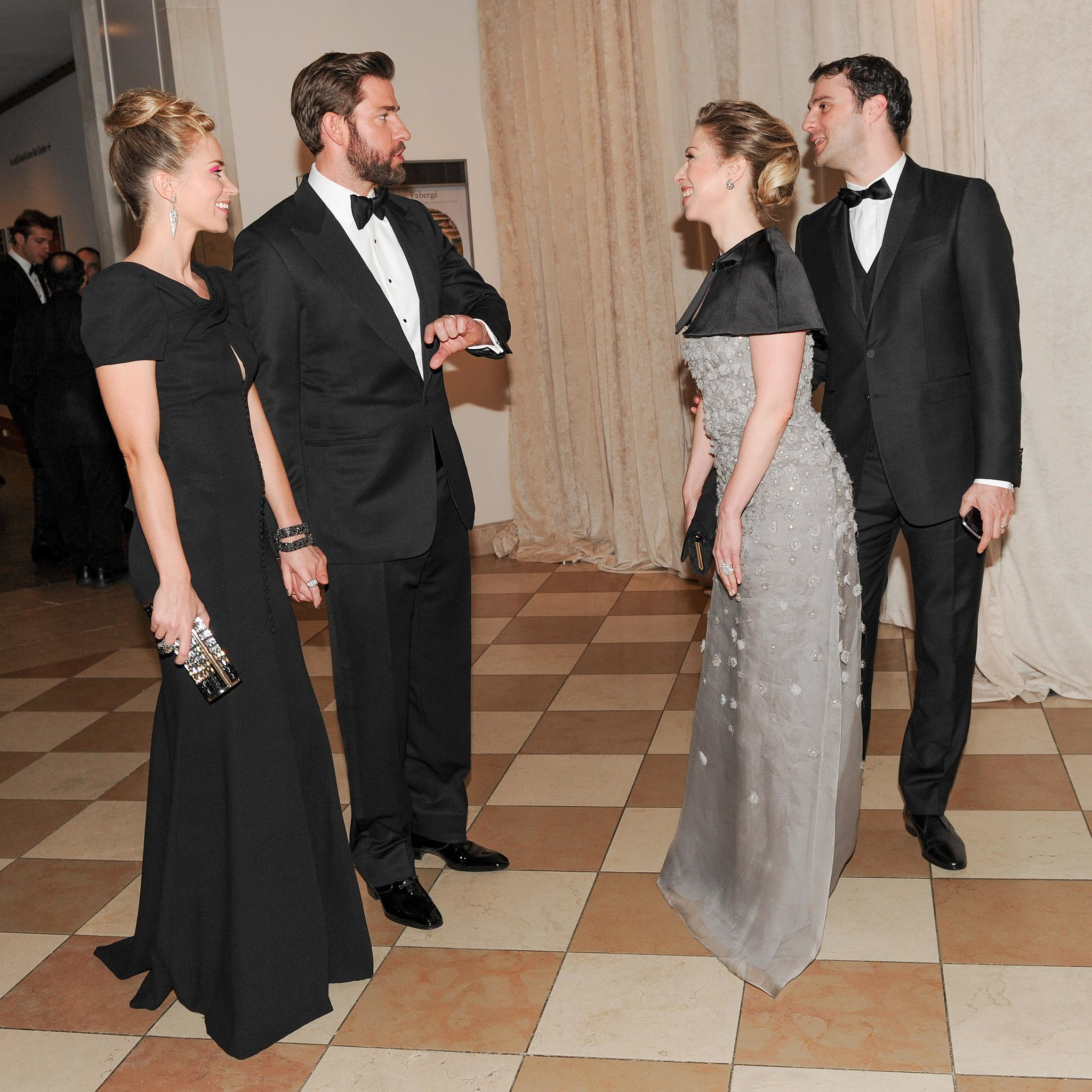 Emily Blunt and John Krasinski made small talk with Chelsea Clinton and Marc Mezvinsky. Source: Billy Farrell/BFANYC.com