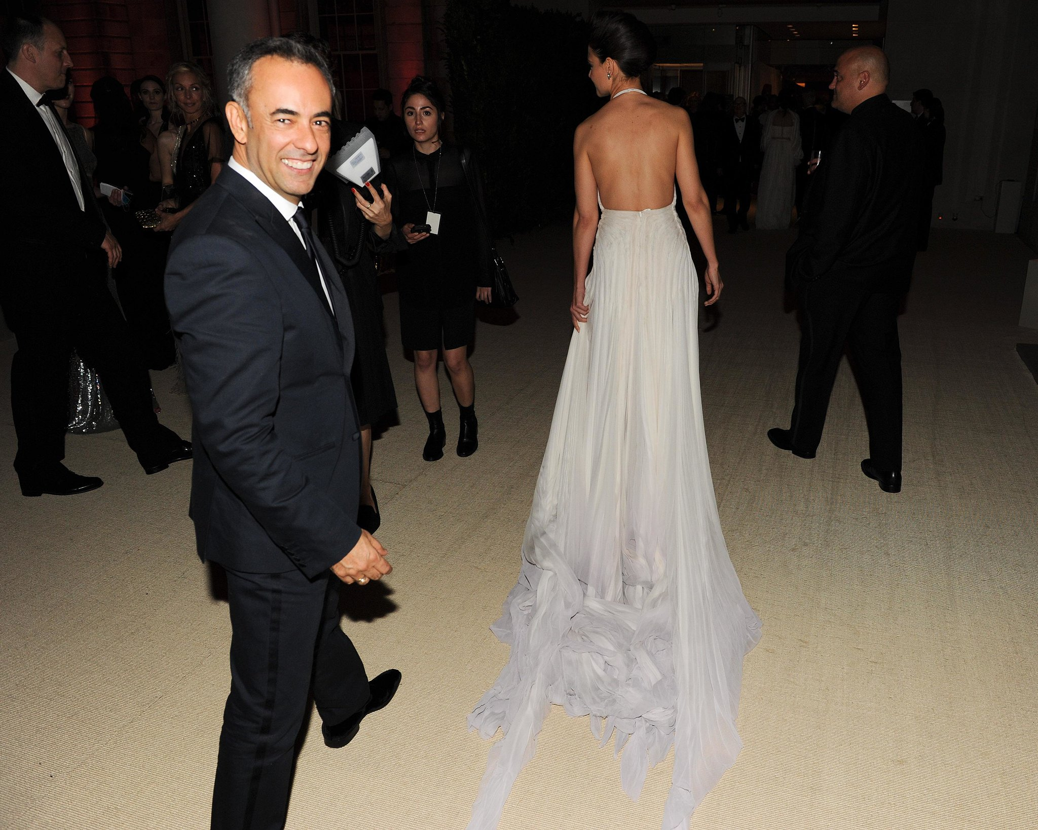 Francisco Costa followed Katie Holmes's train into the Met Gala dinner party. Source: Billy Farrell/BFANYC.com