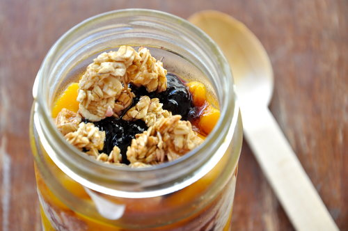 Mango, Blueberry jam, and Apple-Cinnamon Granola Parfait
