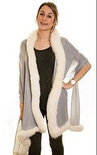 Fine-Pashmina Shawl with Ivory Fox Fur