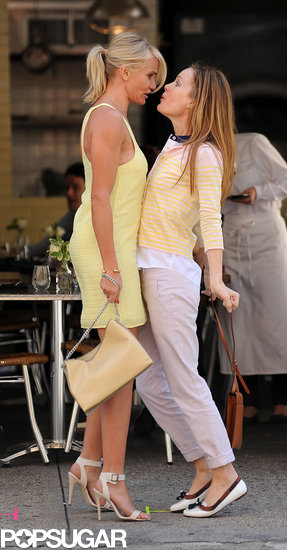 Cameron Diaz filmed with Leslie Mann in NYC.