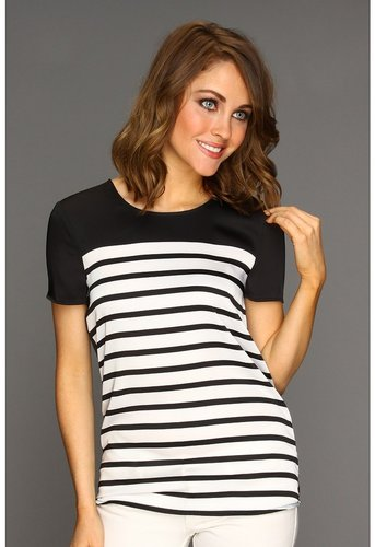 MICHAEL Michael Kors - Bretton Stripe Scoopneck T-Shirt (Black) - Apparel