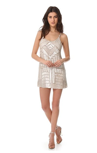 The sequined finish and Art Deco feel make this Parker Hayden dress (£255) a perfect party dress for Daisy Buchanan — or anyone trying to get her look.