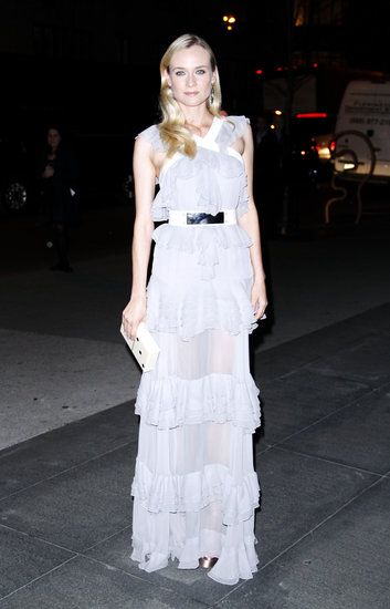 If romance is what you're going for, you'll need ruffles, lots and lots of ruffles. We adored Diane Kruger in her soft gray ruffled Prabal Gurung gown, especially with that metallic-and-white belt.