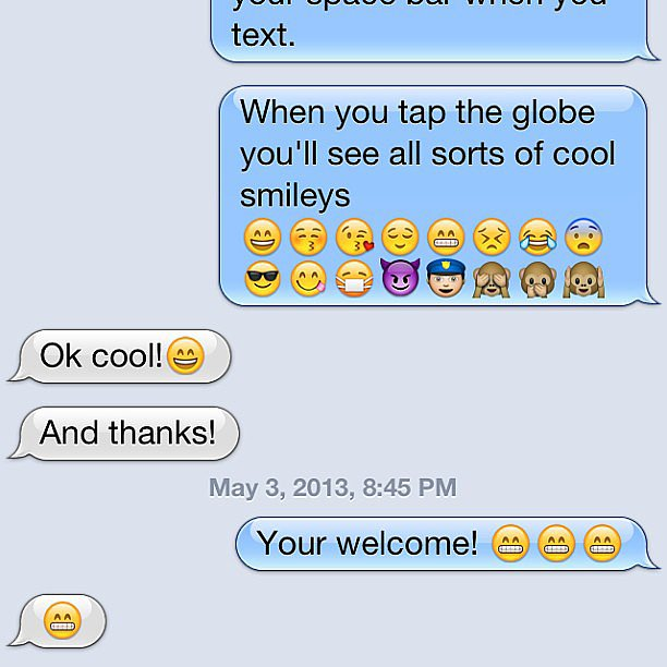 Cute — Mom learns how to use emojis.  Source: Instagram user ari_on_fire