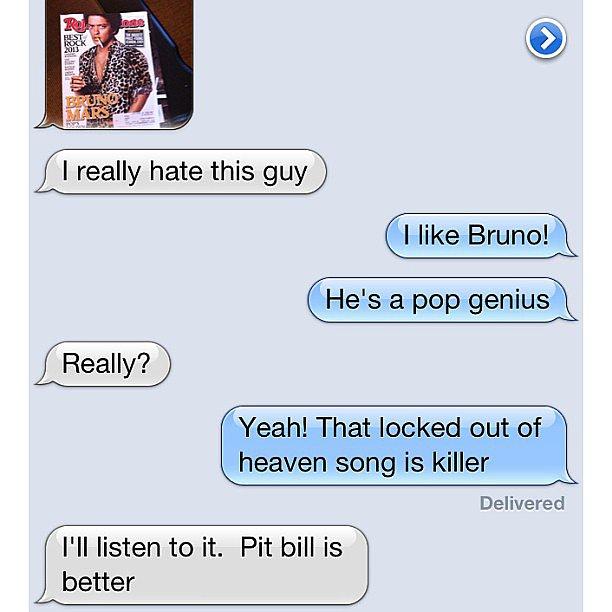 According to some moms, Pitbull > Bruno Mars. Source: Instagram user hernameisali