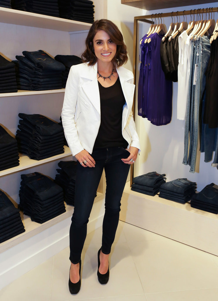 While promoting her new jewelry line with 7 For All Mankind in Miami, Nikki Reed started off with all black, then added a crisp white jacket to top off her look.