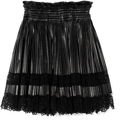Givenchy Leather And Lace Pleated Skirt