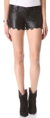 Blank denim Laser Hem Faux Leather Shorts