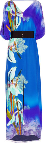 Matthew Williamson Belted kimono-style printed silk gown