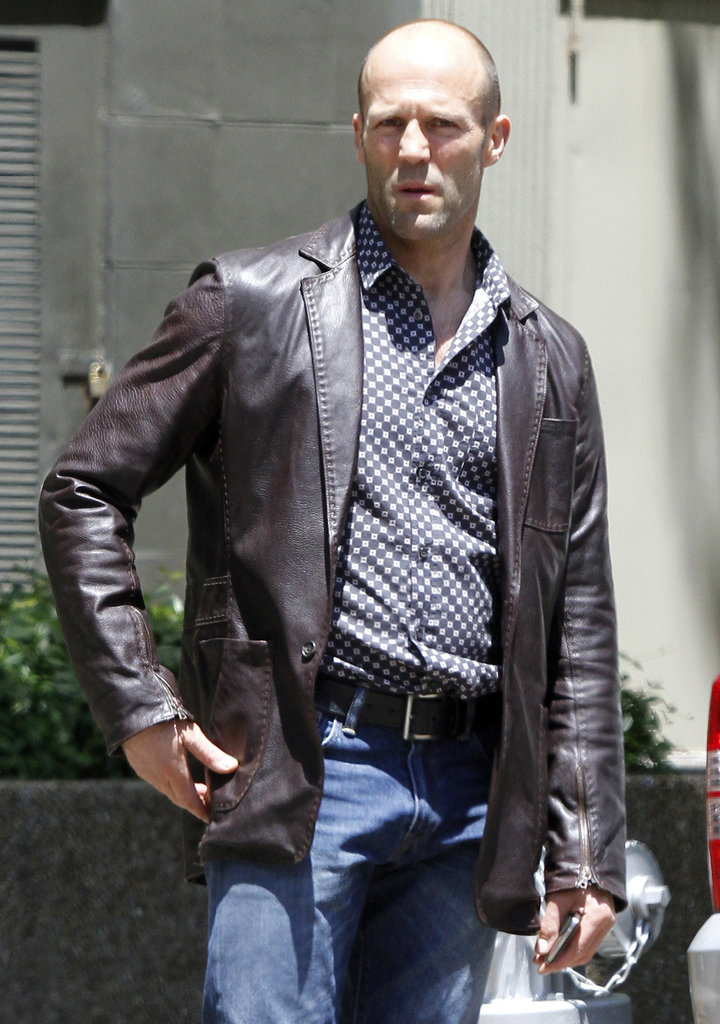 Jason Statham got serious as he headed to the Heat set on Thursday in Miami.
