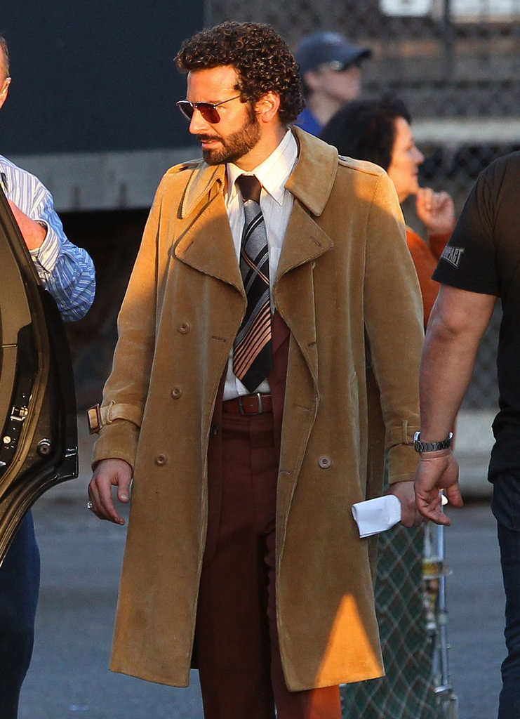 Bradley Cooper rocked his American Hustle perm while on the Boston set Tuesday.