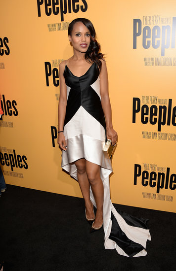 Kerry Washington pulled off the striking palette on a two-toned Narciso Rodriguez dress and coordinating Christian Louboutin pumps for the LA premiere of Peeples.