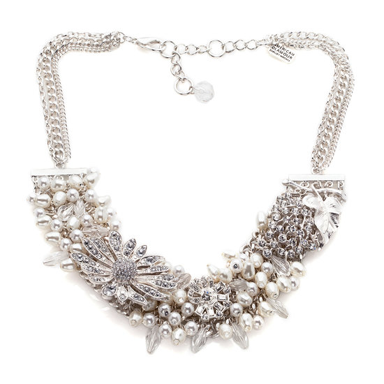 American Glamour Badgley Mischka Simulated Pearl Cluster Necklace  Let your jewelry do the flirting and your playful style intentions be known with this shimmering charmer's pearlescent dangles and twinkling odds and ends.