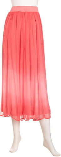 Neiman Marcus Ombre Plisse Skirt, Coral Blush