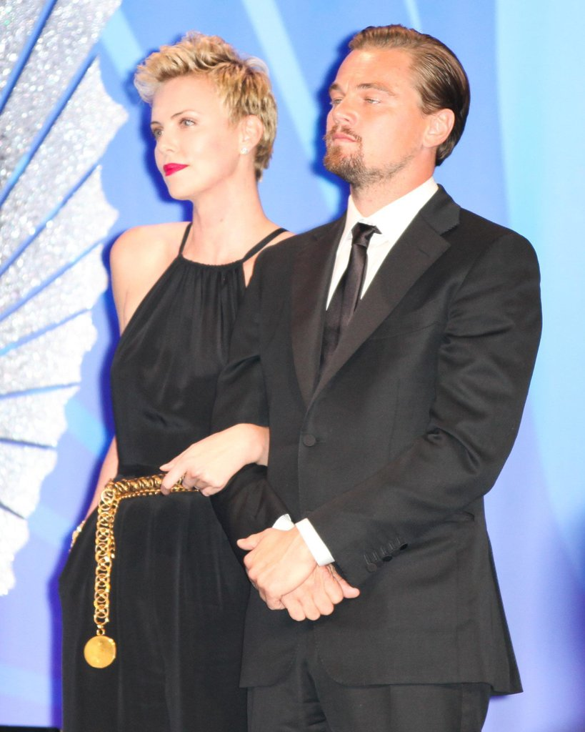 Charlize Theron and Leonardo DiCaprio linked up to present an award at the GLAAD Media Awards in April. Source: Aleks Kocev /BFAnyc.com