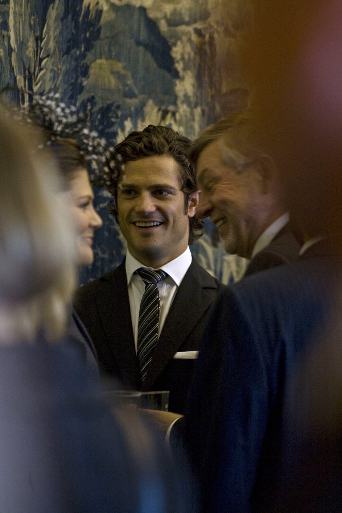 We'd love to get this glimpse across a room — the prince glowed at the opening of a Swedish Parliament session in 2008.