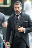 Jeremy Piven got into character for scenes from the ITV show Mr. Selfridge in London on Monday.
