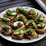Hummus, Avocado, and Craisin Crostinis