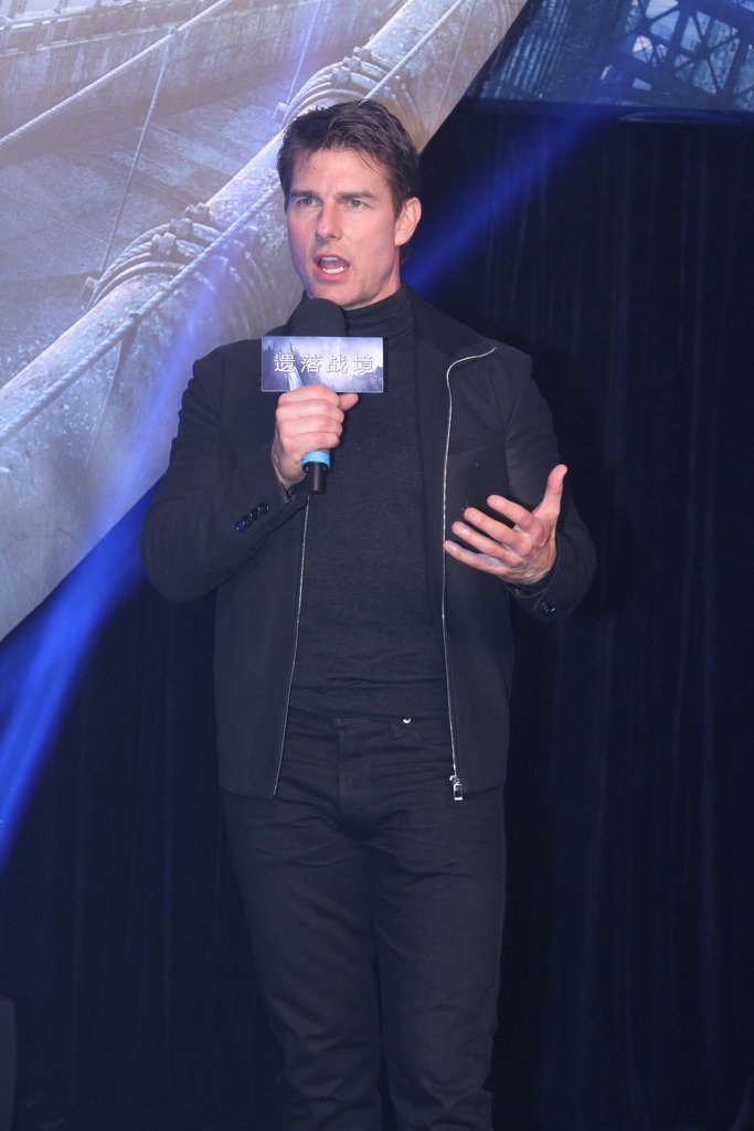 Tom Cruise spoke at the Beijing premiere of Oblivion.