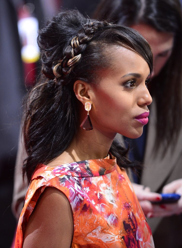 The addition of a highlighted, braided headband to Kerry's half-up style gave the look an unexpected edge as she attended the Django: Unchained premiere in Berlin.